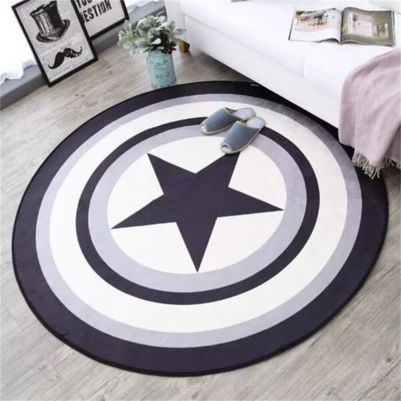 Fashion Soft Round Flannel Decorative Carpet Foot Door Yoga Chair Play Mat Pad Bathroom Hallway Area Rug Pentagram Star Red Blue