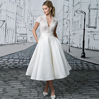 2017 Spring Summer Wedding Dresses Tea Length Short Sleeve Robe De Mariage A Line Princess Cheap