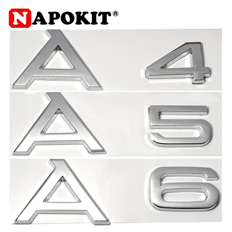 ABS Chrome 3D Logo For A3 A4 A5 A6 A3L A4L A5L A6L LOGO Car Styling Sticker Factory Supply Car Rear Decoration Emblem Badge