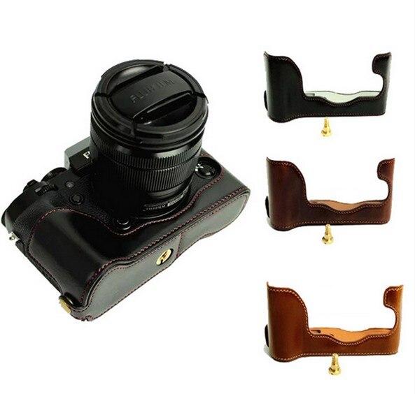 Demi-Caisse de cuir pour Fuji Fujifilm X-T1/XT1/X T1 Numérique Caméra Brun/Noir/Café Fond sac de Couverture de la batterie Ouverte directement