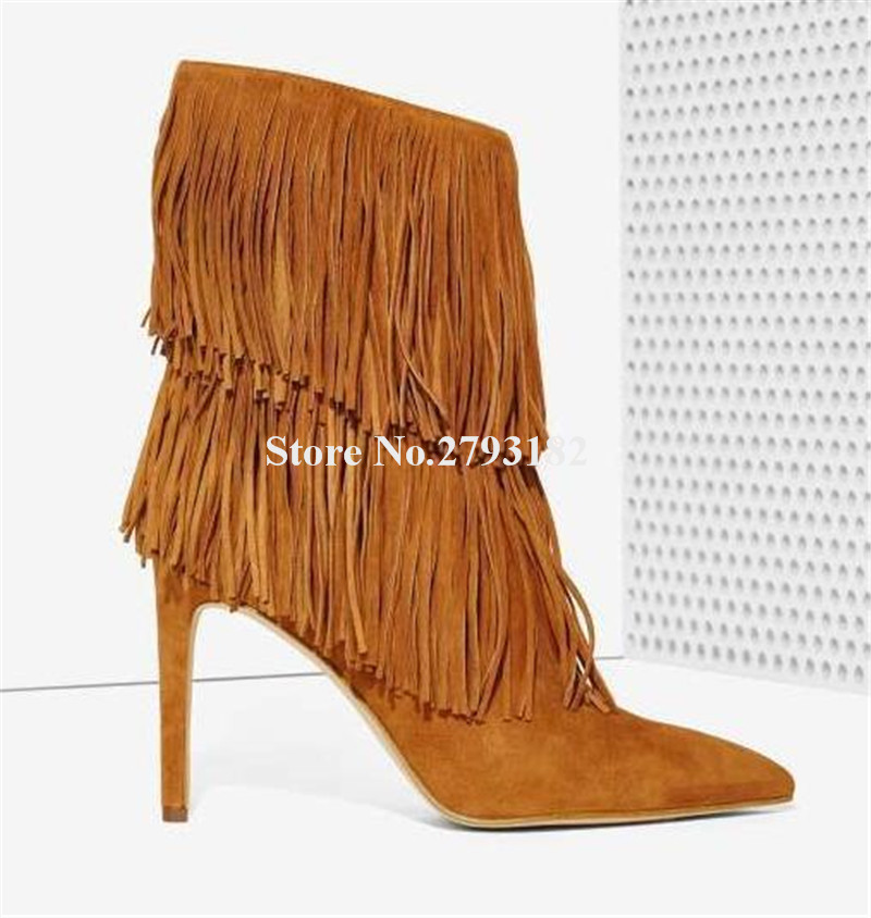 Brand Design Women Fashion Pointed Toe Suede Leather Thin Heel Tassels Short Boots Charming Fringed High Heel Ankle Booties hot selling women charming flock back gold metallic 3d butterfly embellished short boots pointed toe suede leather ankle booties