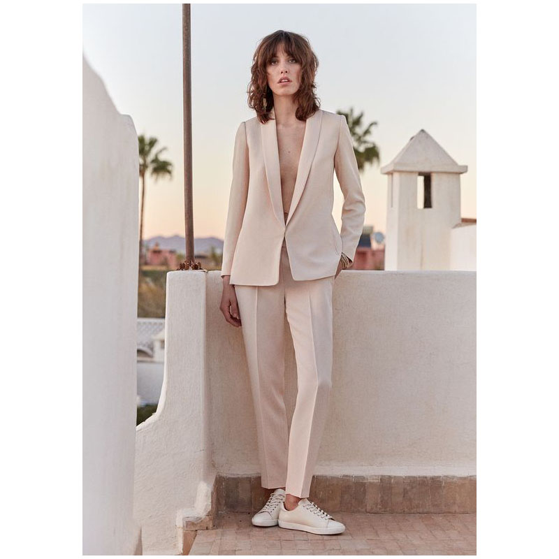 Light Pink Two Piece Women's Suit Pants Suit Wedding Dress