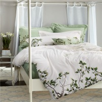 TUTUBIRD Luxury Embroidery Egyptain Cotton Bedding Set 4pcs White And Green Leaf Print European Style Princess