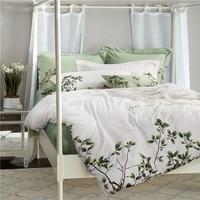 TUTUBIRD Luxury Embroidery Egyptain Cotton Bedding Set 4pcs White And Green Leaf Print European Style Princess