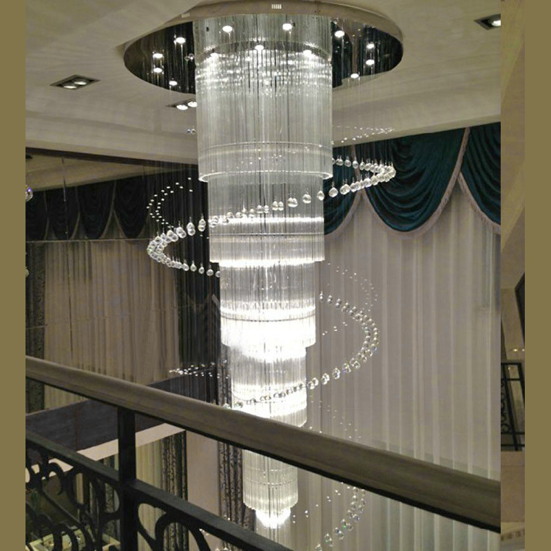 new large modern chandelier crystal lighting for Duplex and hotel lustres cristal LED stair light new modern chandelier led crystal lamps long pendant chandelier lustres de cristal kronleuchter ac110 240v stair chandelier