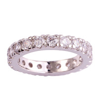 lingmei Cocktail Round White Sapphire 925 Silver Ring Size 6 7 8 9 10 11 12 13 Women Wedding Rings Romantic Love Style Wholesale