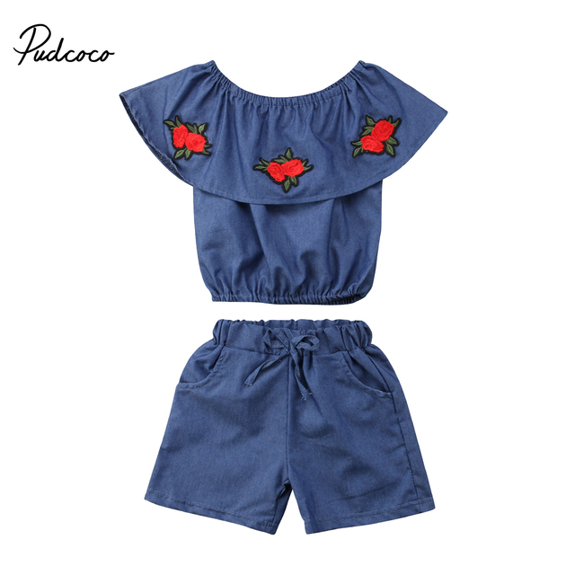 56a53a450823 2Pcs Fashion Toddler Girls Embroidered Flowers Off Shoulder Outfits Kids  Summer Tank Tops+ Shorts Set 1-6Y
