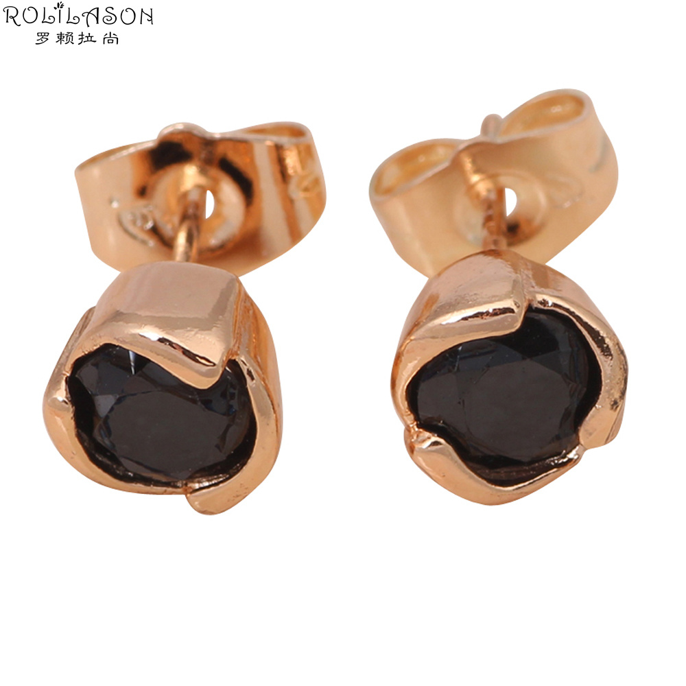 Us 4 23 28 Off Amazing Whole So Shining Onyx Gold Tone Fashion Jewelry Black Crystal Stud Earrings Je826 Birthday Gifts In From