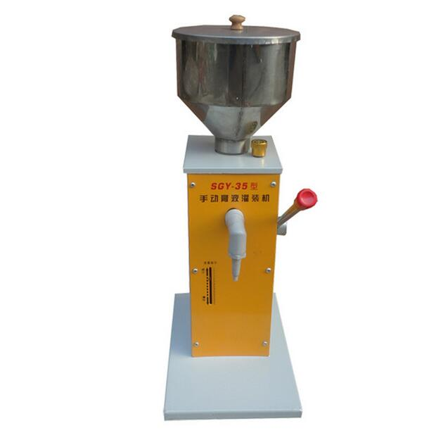 SGY-35 Manual paste filling machine liquid filling machine cream fill machine 0 - 50ml a02 manual filling machine pneumatic pedal filling machine 5 50ml small dose paste and liquid filling machine piston filler