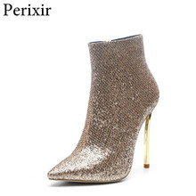 2019 New Bling Sequined boots Female Footwear Big Size Woman Sexy High Heels Ankle Boots Pointed toe Zipper Fashion Gold Boots все цены