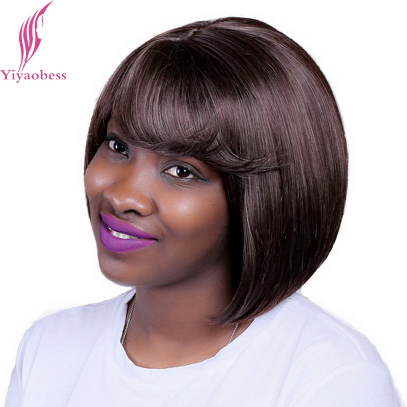 Yiyaobess 12inch Mix Brown Short Wig For Women Heat Resistant Synthetic African American Bob Wigs With Bangs