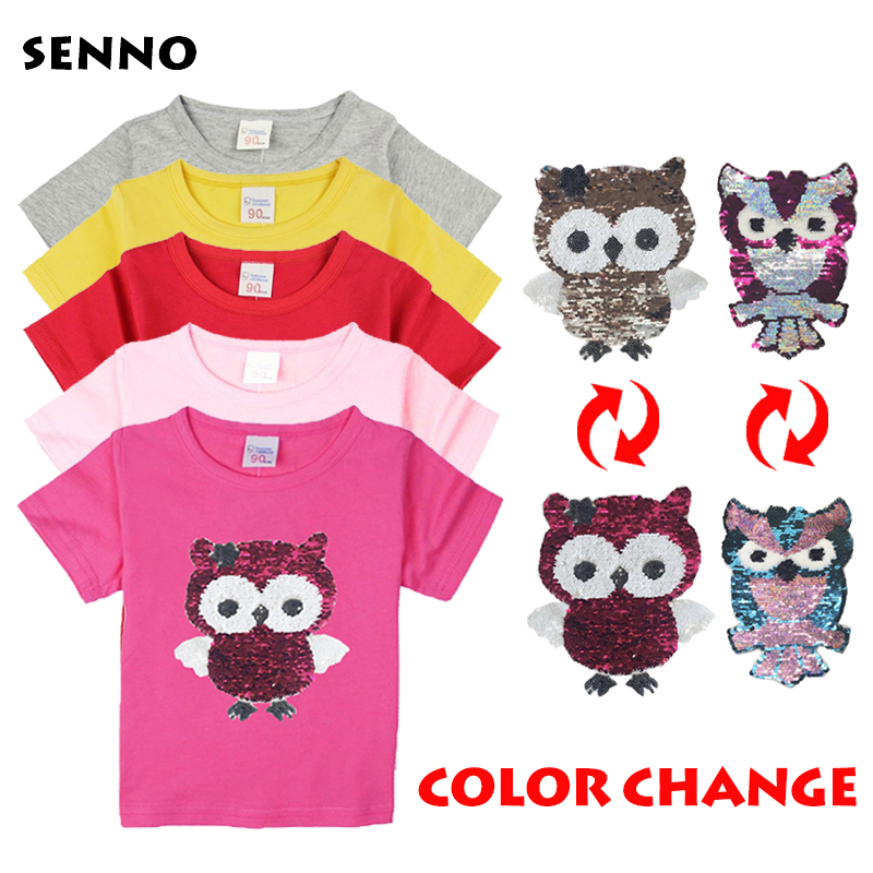 все цены на Color changing sequins flipped reversible sequin t shirt tee shirt kids girls t-shirts with sequins double sided sequin top