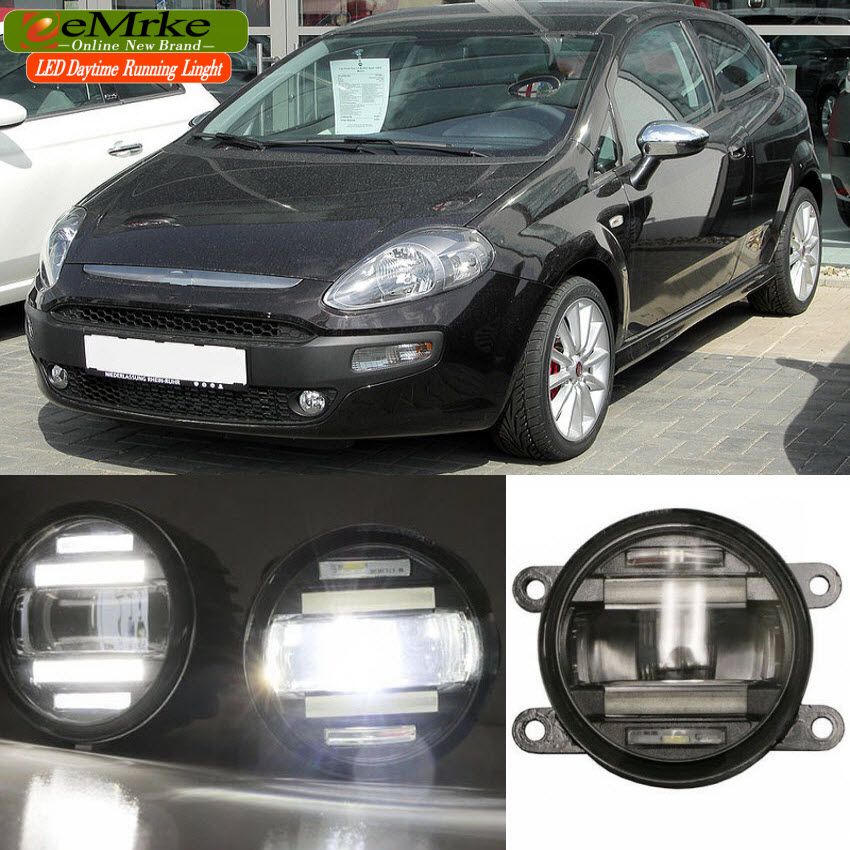 eeMrke Car Styling For Fiat Punto Evo 2009-2012 2 in 1 LED Fog Light Lamp DRL With Lens Daytime Running Lights eemrke car styling for opel zafira opc 2005 2011 2 in 1 led fog light lamp drl with lens daytime running lights