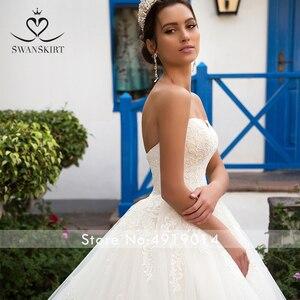 Image 3 - Swanskirt destacável vestido de casamento de manga longa 2020 colher apliques rendas a linha do vintage princesa noiva vestido de noiva noiva k201