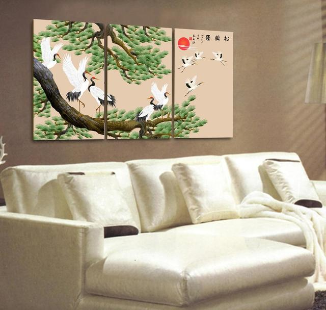 Chinese painting Pine tree Crane painting Wall art on canvas 3 ...