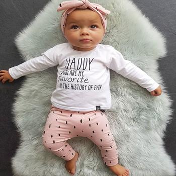Noworodka zestaw ubrań dla dziewczynek 3 szt Jesień bawełny z długim rękawem list T-shirt różowe spodnie z pałąkiem na głowę słodkie niemowlę odzież stroje tanie i dobre opinie Cool odd baby COTTON Moda O-neck Zestawy Swetry Pełna REGULAR Pasuje prawda na wymiar weź swój normalny rozmiar Czesankowej