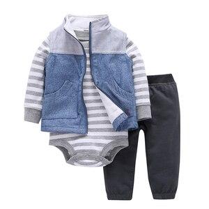 Image 1 - Одежда для новорожденных мальчиков и девочек полосатый комбинезон с длинными рукавами, штаны, пальто весенне осенняя одежда костюм для младенцев костюм унисекс для новорожденных