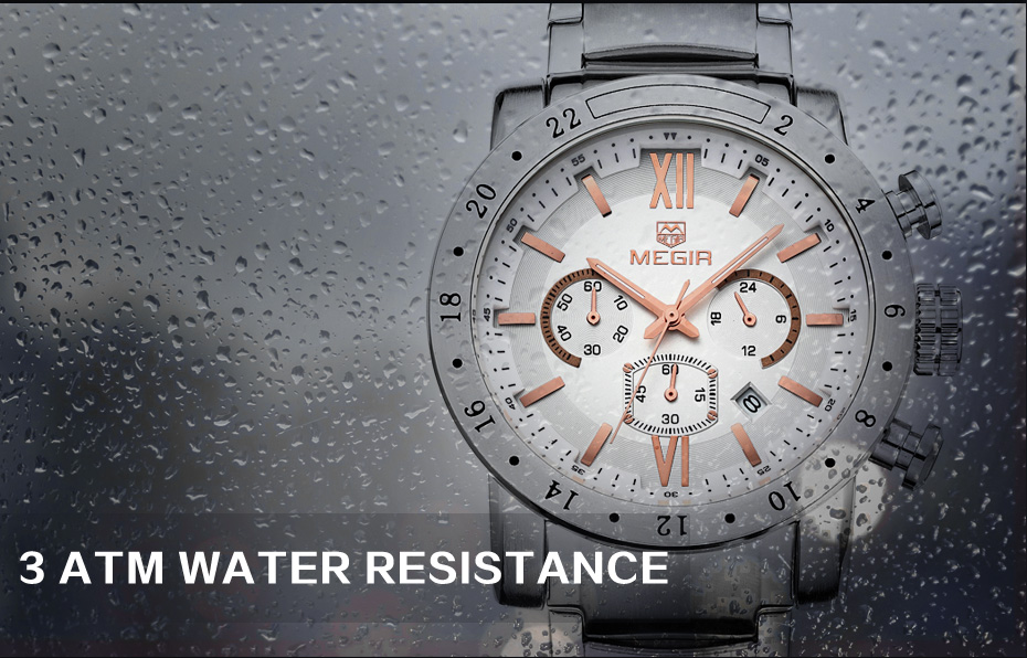 Topdudes.com - MEGIR Original Big Dial Waterproof Luminous Stainless Steel Business Quartz Watch