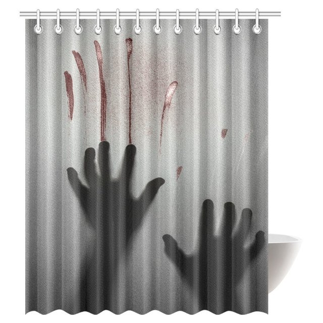 Aplysia Horror House Decor Shower Curtain Bloody Hand Backgrounded