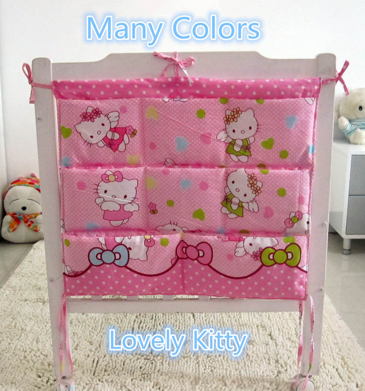 Cartoon 62*52cm Only Sale Waterproof Baby Bed Hanging Storage Bag Newborn Crib Organizer Cot Pocket