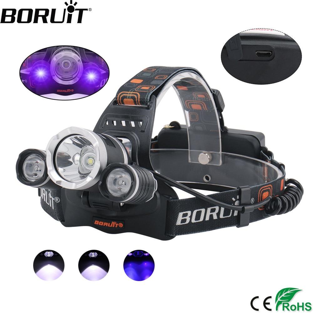 BORUiT XML T6 XPE Reflektor LED UV 3-Mode fioletowy reflektor ładowarka USB Fiołek głowy latarka Wyszukiwanie latarki przez 18650 baterii