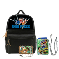 One Piece Cosplay Canvas Shoulders Bag Teenagers Students Casual Backpack Unisex Travel Bag with Chain Card