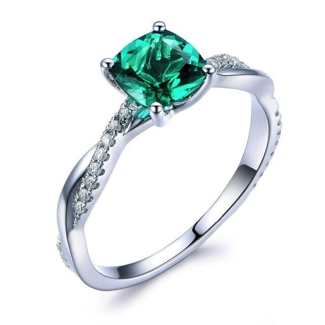 66852fa4f530d Lab Emerald anel de noivado 14 k ouro branco pedra preciosa verde torção  banda diamante único