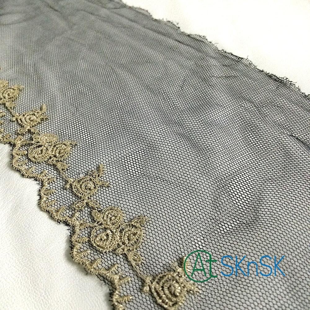 100 Yards/lot 16 CM large or garniture florale broderie couleur noire maille dentelle tissu pour mode femme robe décoration DHL expédition