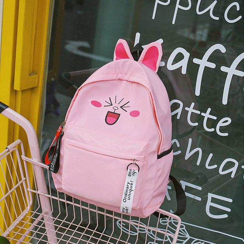 Cute Cartoon Cat Ears Backpacks Schoolbag for Teenage Girls Women Back Pack Nylon School Backpack Famale packbag ladies Bagpack in Backpacks from Luggage Bags