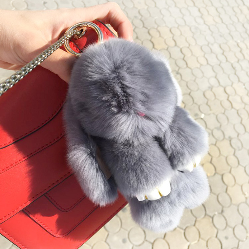 Genuine Rabbit Fur Pom Pom Key Chain For Women Trinket Cute Mini Rabbit Toy Doll Bag