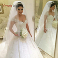 Luxury Ball Gown Plus Size Wedding Dresses 2017 Princess Bride Gown Short Sleeves Lace Wedding Dress