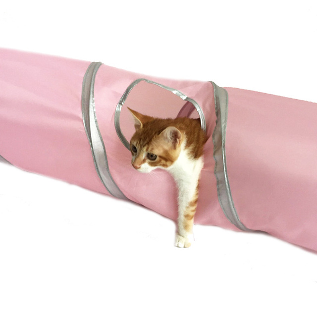 120cm Long Folding Cat Tunnel Toys Nylon Steel Wire Cat Training Toys