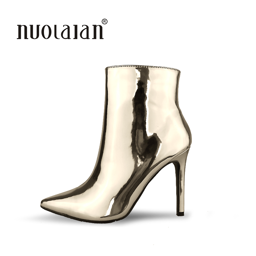 Фото Women Boots Brand 2017 Sexy Pointed Toe Ankle Boots for Women High Heels Fashion Autumn Winter Boots