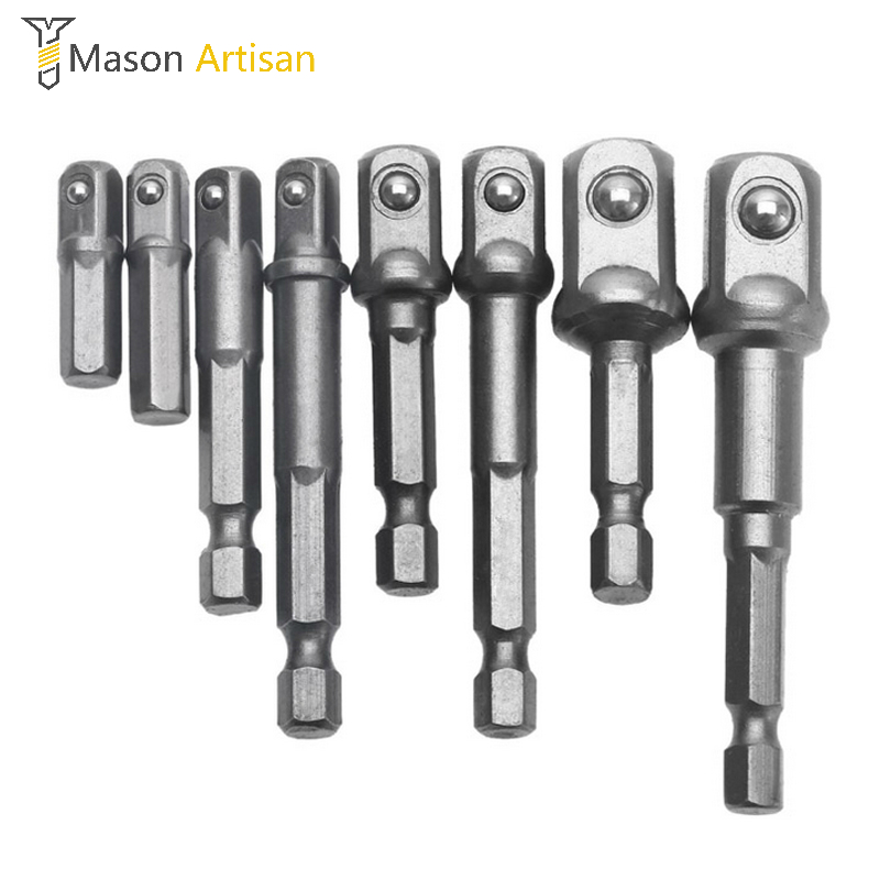 8Pcs/Set Cr-V Socket Adapter Joint 1/4 Hex Shank Connecting Rod for Electric Drill Screwdriver 150pcs socket set 1 4