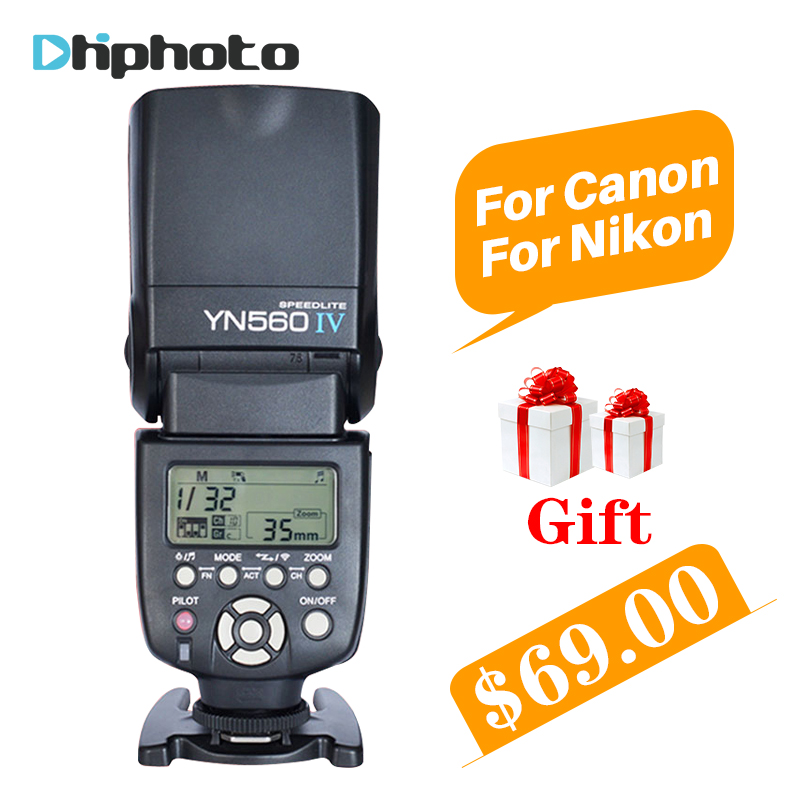YONGNUO YN560 IV YN560IV Universal Wireless Master Slave Flash Speedlite for Nikon Canon Olympus Pentax DSLR Camera 4 Free Gifts yongnuo universal yn560 iv lcd flash supports wireless radio master function flash speedlite for canon nikon pentax olympus sony