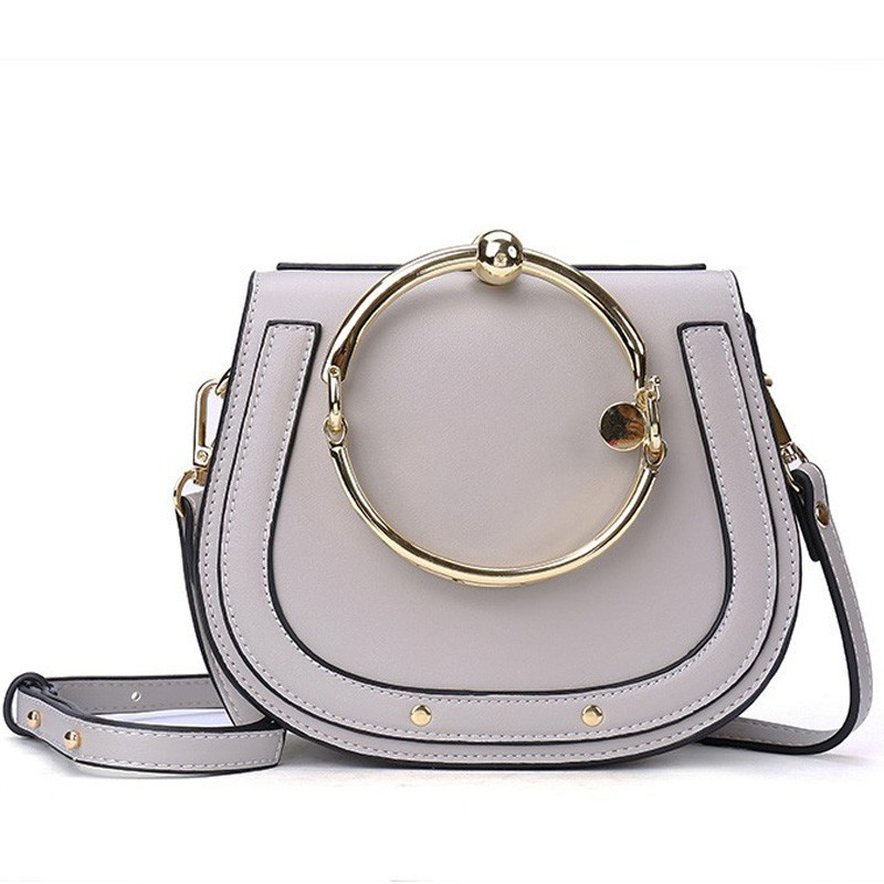 Ring Unique Metal Top Handle Casual Girls Shoulder Bag Handbag Crossbody For Women Famous Designer PU Leather Messenger Bags 725 pu leather metal multi zips handbag