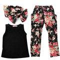 3 Pcs crianças roupas de bebê meninas verão roupas colete + Floral calças + Headband