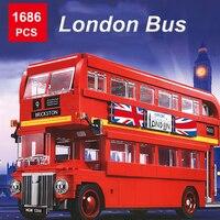 1686pcs Technique Series London Bus DIY Building Blocks Compatible with City Bricks Modeling Construction Blocks Toys
