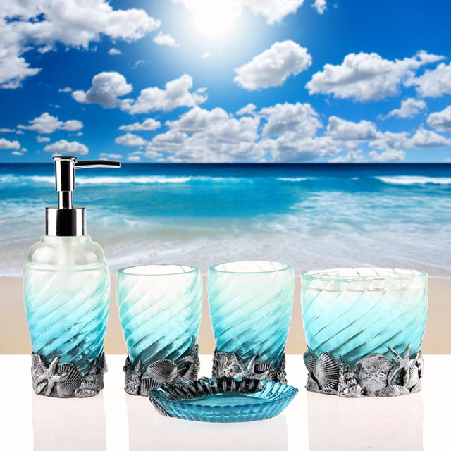 New Design Sea Shell Resin Bathroom Set Lotion Dispenser Toothbrush Holder Five Pieces Accessories With