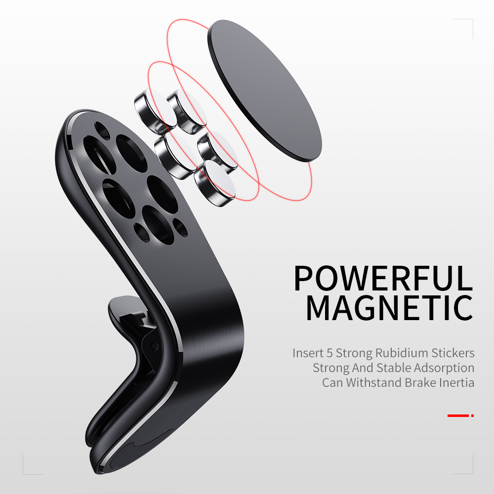 Image 5 - Rock Mental Magnetic Car Phone Holder Air Vent Mount Mobile Smartphone Stand Magnet Support Cell in Car For iPhone Samsung LG-in Phone Holders & Stands from Cellphones & Telecommunications
