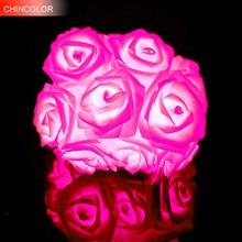 Rose Led String 20 Leds Flower Lights Fairy for Holiday Wedding Party Christmas Room Decor Color Lantern fast ship L