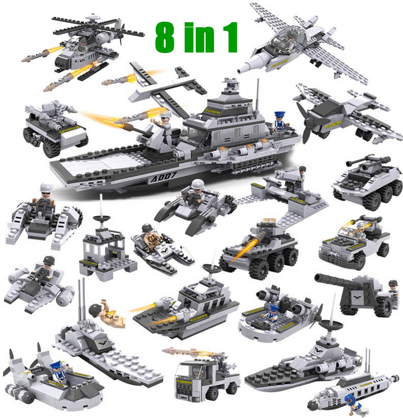 8 in 1 Aircraft Carrier Building Blocks Model Fleet Submarine Warship Military Naval Ship Cogo 13007