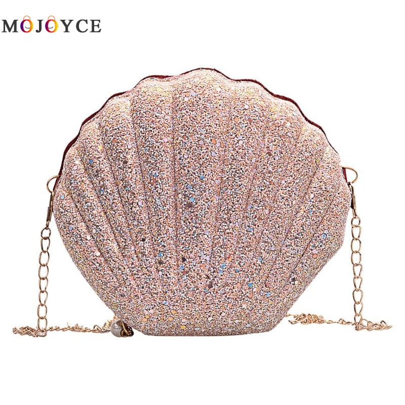 Cute Sequins Small Shell Bag Shoulder Handbags Phone Money Pouch Chain Crossbody Bags For Women