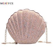 Cute Sequins Small Shell Bag Shoulder Handbags Phone Money Pouch Chain Crossbody Bags for Women