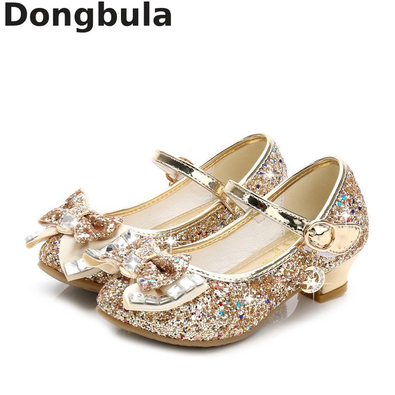 New Kids Girls High Heels Sandals Sequin Glitter Princess Dance Weddings Shoes Girl Fashion Bowtie Crystal Leather Student Shoes