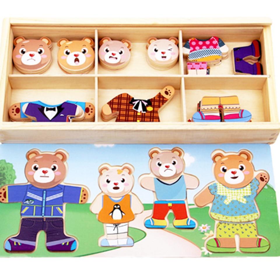 Jeux éducatifs Woodentoys Puzzle enfants petit ours changement Oyuncak jouets d'apprentissage éducation précoce main intellectuelle saisir