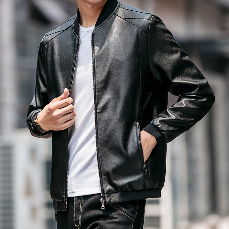 Autumn Winter New Mens Leather Jacket Fashion Bomber Jackets Coat Men Black Faux Leather Windbreakers Motorcycle Jacket For Male