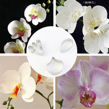 4YANG 3pcs/set Stainless Steel Cookie Cutter 3D Butterfly Orchid Biscuit Fondant Cake Decorating Tools Dessert Baking