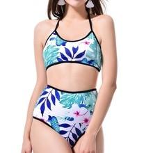 2018 Bikini Frauen Kleine Fresh Print Hohe Taille Bikini Blaue Blume Split Badeanzug Tankini Badeanzug Frauen Badeanzug Frauen