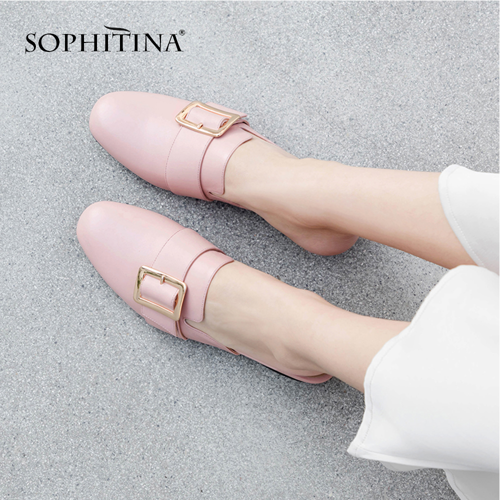 SOPHITINA High Quality Women s Slippers Hot Sale Fashion Solid Spring Genuine Leather Shoes Metal Decoration